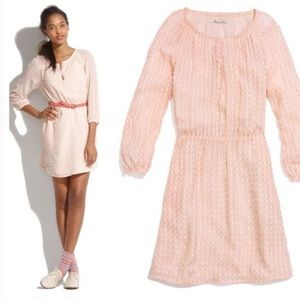 🆕 Madewell pink peasant dress in silk clip dot